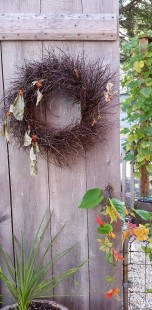 Bittersweet Wreath on Barn Door